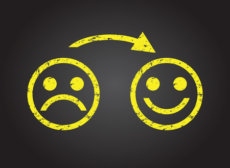 smiley icon: sad face to a happy face