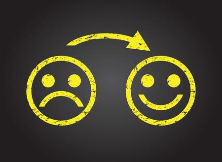 trauriges Gesicht zu einem glücklichen Gesicht