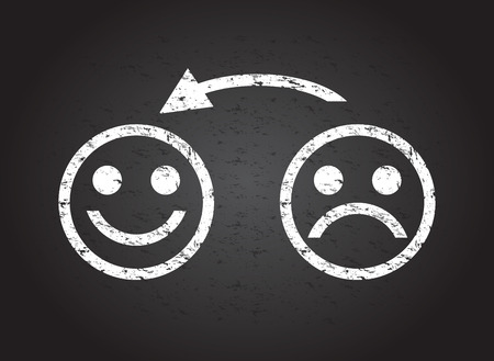 cara triste: triste cara a una cara feliz