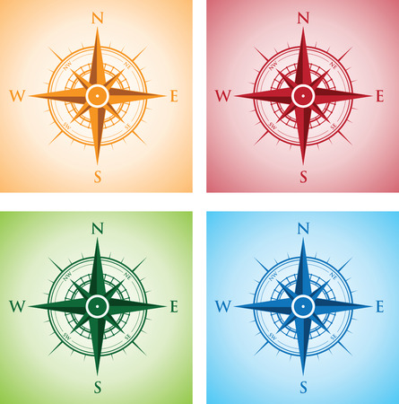 compass rose: colourful set of compasses Illustration