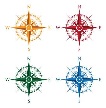 colourful set of compasses Иллюстрация