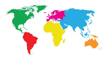 the continents: colourful continents world map Illustration