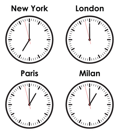 fashion world time zone clocks Vector