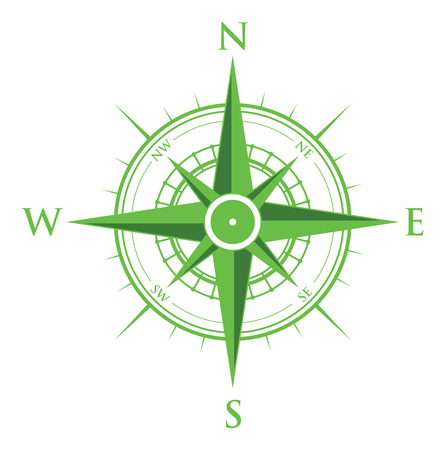 groene kompas Stock Illustratie