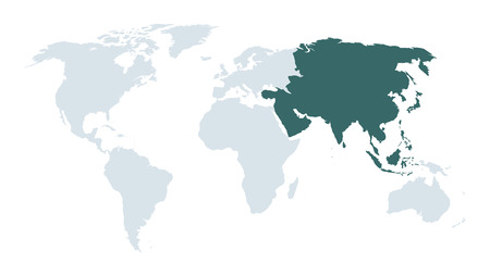 world map high lighting asia