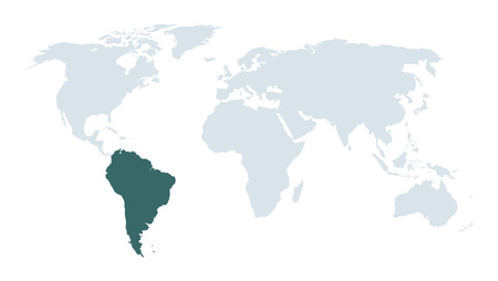 tour operator: world map high lighting south america