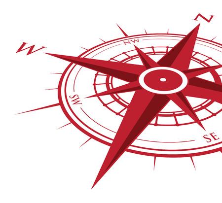 赤い背景のコンパス  イラスト・ベクター素材
