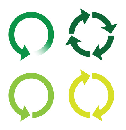 refreshed: recycle or reload page green icons Illustration