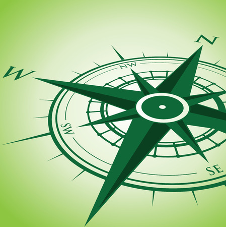 windrose: green compass background Illustration