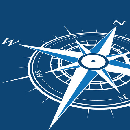 wind rose: blue compass background Illustration