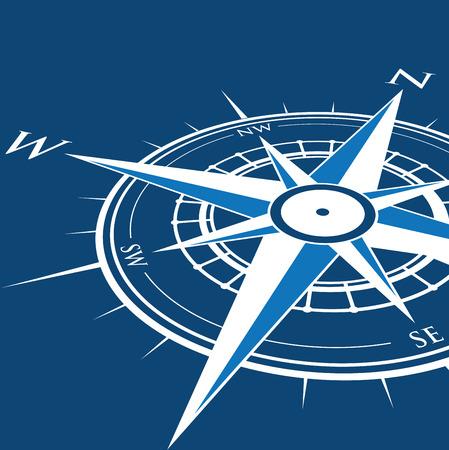 rosa dei venti: sfondo blu bussola Vettoriali