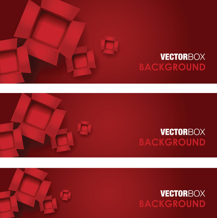 bundle: red set of card board box banners Illustration
