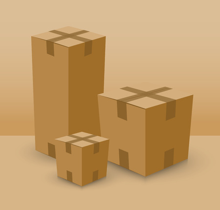 tare: group of card board boxes Illustration