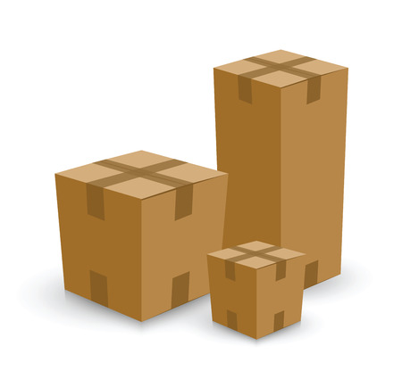 moving down: group of card board boxes Illustration