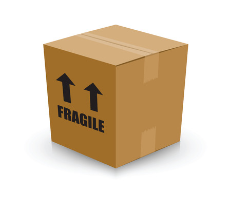 moving down: fragile card board box