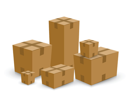 package sending: group of card board boxes Illustration