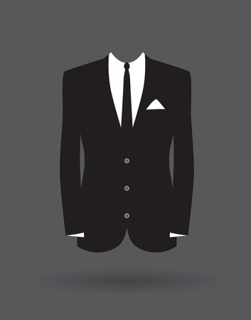 black suit: grooms suit jacket outfit Illustration