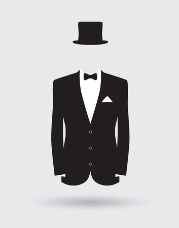 black male: grooms suit jacket outfit Illustration