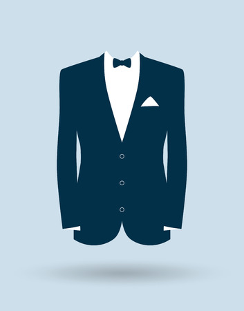 blue tie: grooms suit jacket outfit Illustration