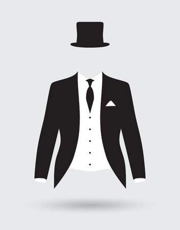 tux: grooms suit jacket outfit Illustration