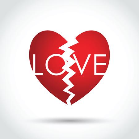 spliting: broken love heart