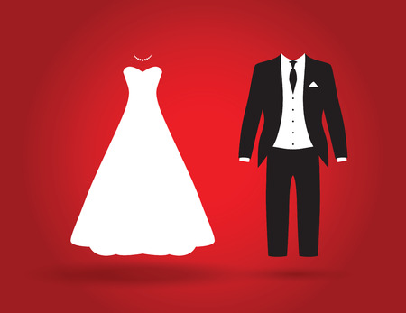 bride and groom illustration: bride and groom