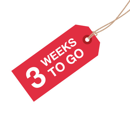 three weeks to go sign