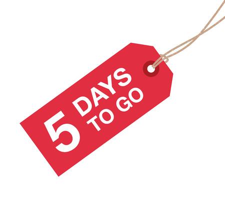 Cinq jours pour aller signe Banque d'images - 37702492
