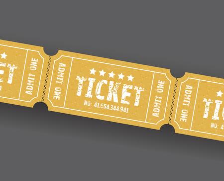 a set of three orange or brown tickets