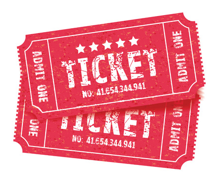 a set of two red tickets Stock Illustratie