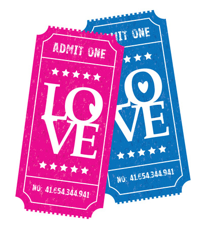 admission: a pink and blue couple of tickets Illustration