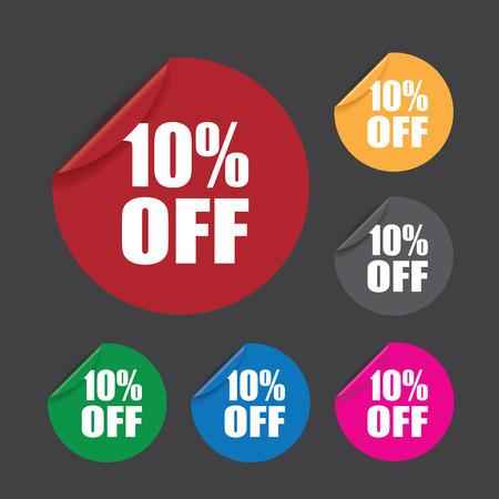 peeling corner: ten percent off stickers Illustration