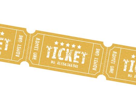 movie ticket: a set of three brown or orange tickets