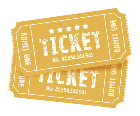at the theater: a set of two brown tickets