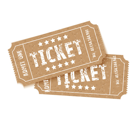 a set of two brown tickets