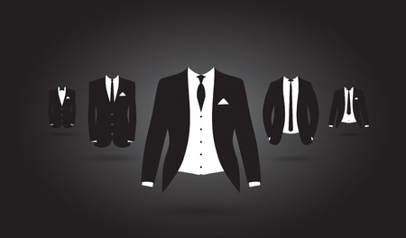 dinner wear: a set of black and white suits