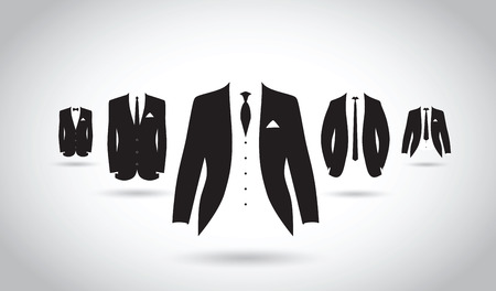 black suit: a set of black and white suits