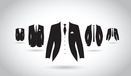 una serie di abiti in bianco e nero