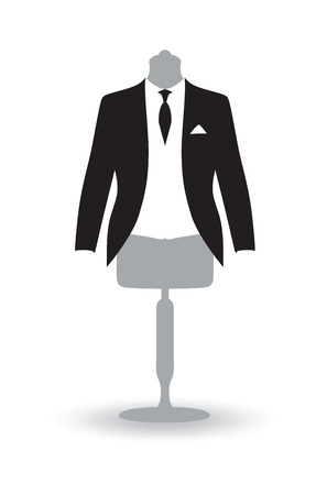 dinner wear: a black and white suit on a mannequin Stock Photo