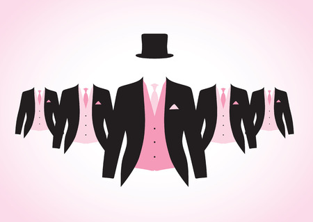 a set of black and pink suits