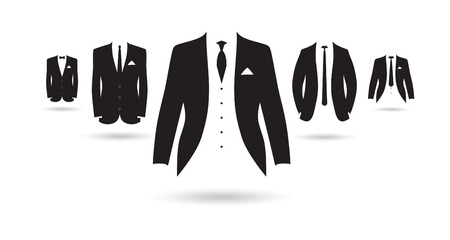 fancy: a set of black and white suits