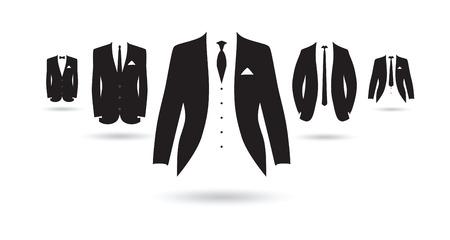 un ensemble de costumes noirs et blancs Banque d'images