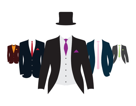 a set of different coloured suits and ties Stock Photo