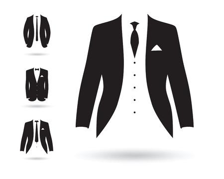 검은 색과 흰색 정장 세트
