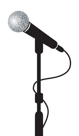 mics: a black microphone stand background Stock Photo