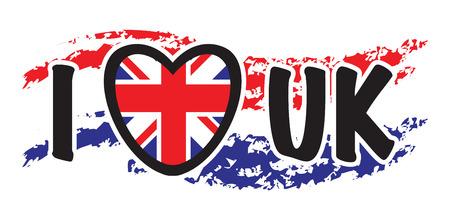 uk flag: i love the uk background Stock Photo