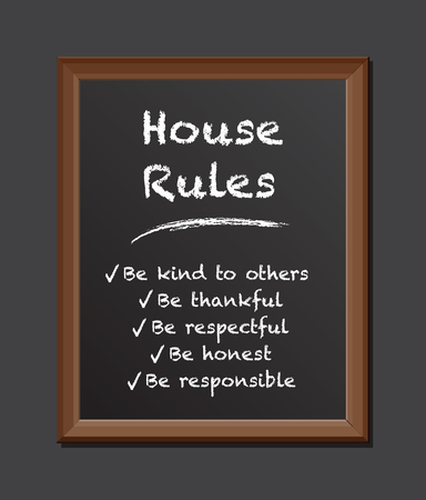 house rules chalk board Stock Photo