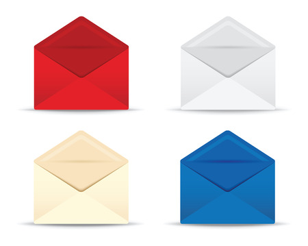 envelope icon: set of four open envelopes