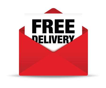 red envelope: free delivery red envelope Stock Photo