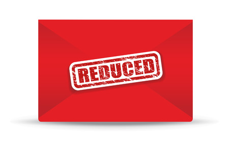 reduced: reduced red closed envelope Stock Photo